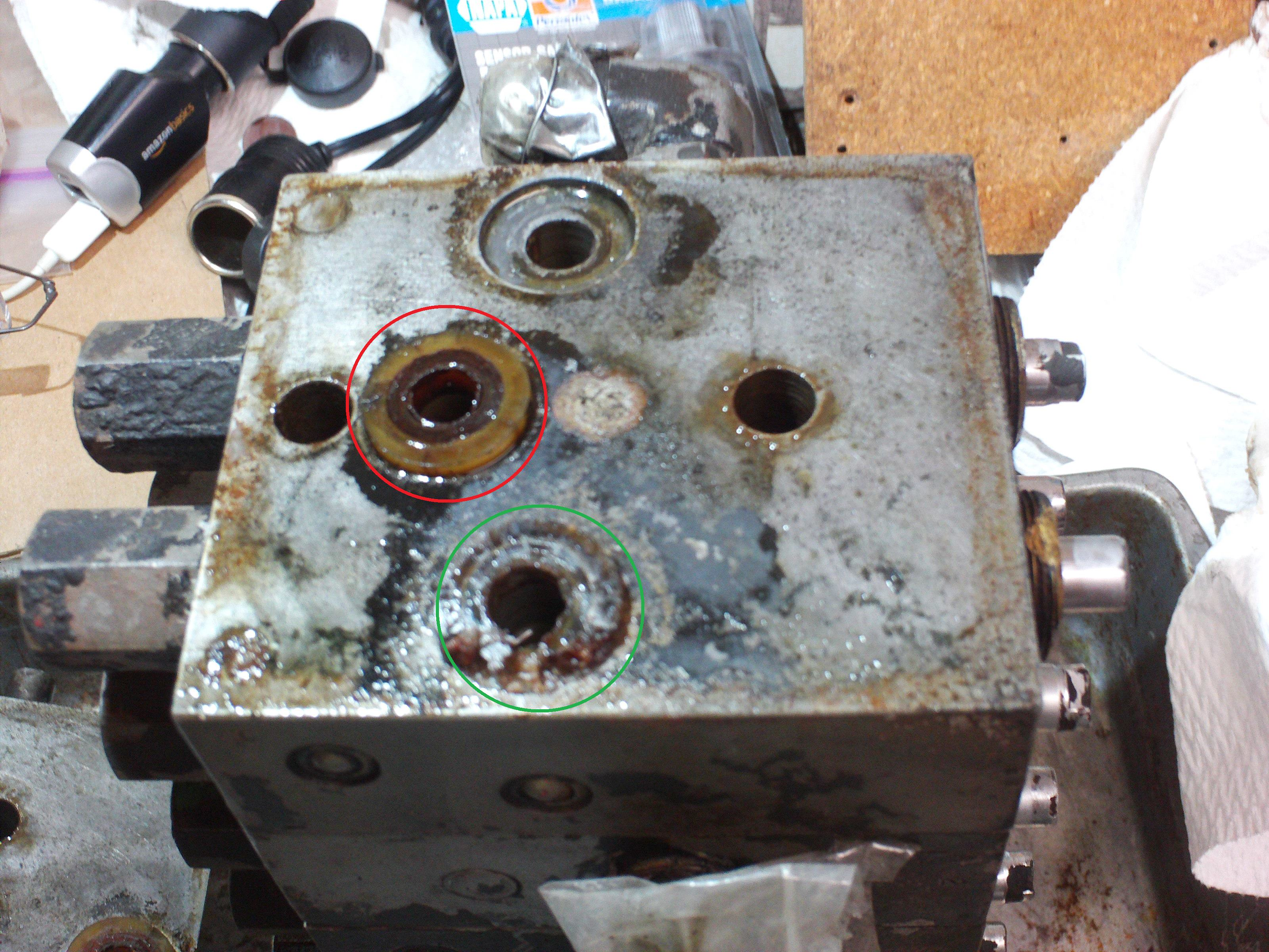 Valve bank upon removal